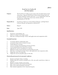 remarkable resume restaurant cashier duties on fast food manager