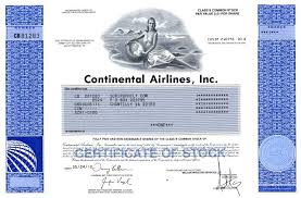 United Airline Stock Continental Airlines Inc Merged With United Airlines No