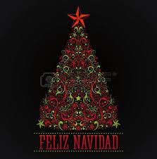 feliz navidad merry christmas spanish text card vector