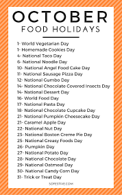 printable october food holiday calendar so festive