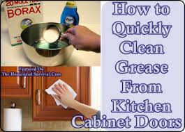 What To Use To Clean Greasy Kitchen Cabinets How To Quickly Clean Grease From Kitchen Cabinet Doors The
