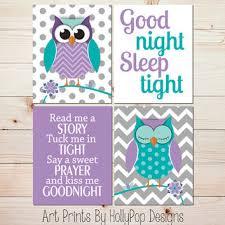 Owl Room Decor Purple Turquoise Nursery Decor Owl Nursery Wall Art Baby Girl