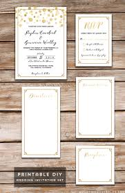 printable wedding invitations modern gold diy wedding invitation set