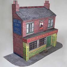 7mm victorian terraced public house bar card model kit purple