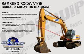 serial number location for your samsung excavator