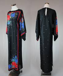 free shipping vintage 60s kimono sleeves floral printed shift maxi