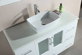 Stanton  Inch White Bathroom Vanity Porcelain Vessel Sink - Elements 36 inch granite top single sink bathroom vanity