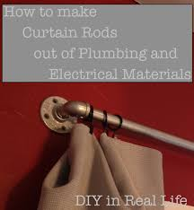diy tutorial of curtain rods made from plumbing and electrical
