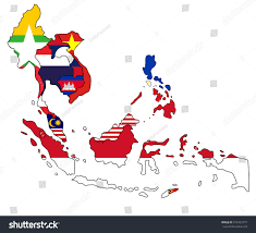 Southeast Asia Blank Map by Southeast Asia Flag Map Stock Vector 310403177 Shutterstock