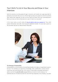 Job Skills To List On Resume by Docshare Top3skillstolistinyourresumeandshowinyourinterview 120402173029 Phpapp01 Thumbnail 4 Jpg Cb U003d1333387864