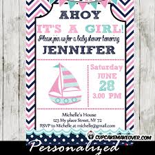nautical baby shower invitations pink and blue nautical baby shower invitation personalized
