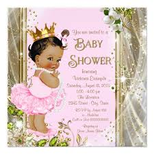 princess baby shower ethnic princess tutu pink gold baby shower card zazzle