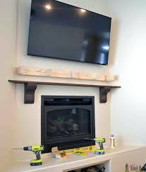 diy rustic fireplace mantel shelf build over brick how to a concrete