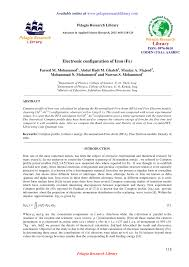 electronic configuration of iron fe
