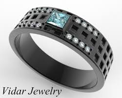 diamond ring for men design princess cut aquamarine black gold wedding band vidar jewelry