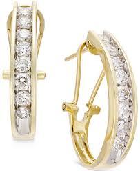 gold diamond earrings diamond j hoop earrings 1 ct t w in 10k gold or white gold