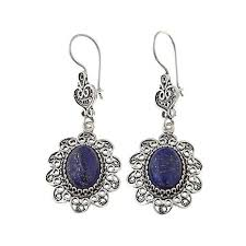 ottoman silver jewelry collection lapis filigree flower earrings