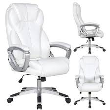 white office chair 2xhome white leather deluxe professional ergonomic high back
