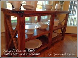 rustic x console table lipstick and sawdust rustic x console table with distressed hardware