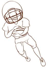 a plain sketch of an american football player on a white