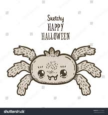 cute cartoon sketch happy halloween spider stock vector 217112392
