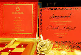 voguish wedding invitations red metal