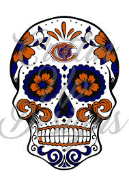 chicago bears sugar skull day of the dead football svg cutting