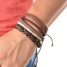 adjustable braided leather bracelet images 1set 4pcs vintage multilayers braide leather bracelet adjustable jpg