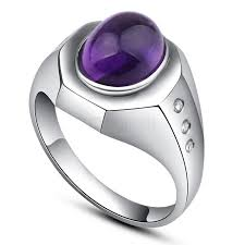 silver ring for men shaped nature amethyst platinum plated sterling silver ring for men