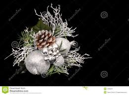 white silver and green ornament with pine cone stock