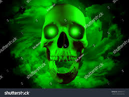 gothic halloween background skull glowing eyes on spiral clouds stock illustration 488350177