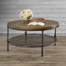 round wood and metal end table round coffee tables you ll love wayfair