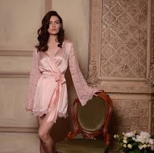 bridal nightwear honeymoon silk bridal robe with lace sleeves f6lingerie