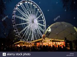 the german market stalls and big wheel in hyde park