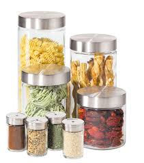 Stainless Steel Kitchen Canisters Amazon Com Oggi 8 Piece Round Airtight Glass Canister And Spice
