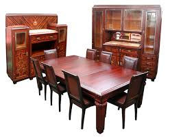 1920 Dining Room Set by Large Scale Art Deco 11 Pc Dining Suite In Ebony De Macassar For
