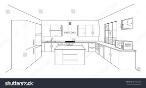 island kitchen plan sketch modern kitchen plan island single stock vector 437967358