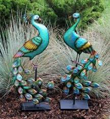 metal coo coo birds set of 2 garden lawn ornaments statues 19 2 in