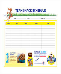 snack schedule template 7 free word excel pdf document
