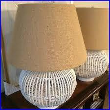 Rattan Table Lamp Very Rare 2 Pair New Signed Ralph Lauren Rattan Wicker Table