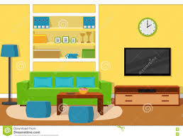 Green Sofas Living Rooms by Living Room Interior With Green Sofa Vector Illustration Stock