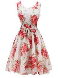 knee length floral belted flare dress white xl in vintage