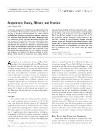 acupuncture theory efficacy and practice annals of internal
