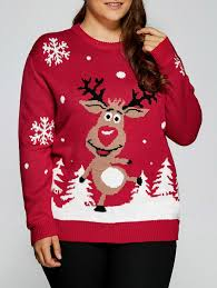 plus size snowflake fawn christmas sweater red xl in plus size