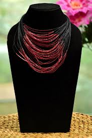 multi layered beaded necklace images Multi layered beaded necklace black and maroon color necklaces jpg