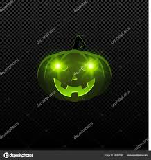 happy green color cartoon evil halloween pumpkin of green color with glowing eyes