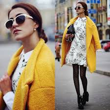 women u0027s yellow coat white and black floral shift dress black