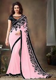 indian ethnic designer saree wear sari pink