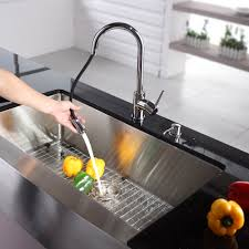 stainless steel kitchen sink combination kraususa com kraus 36 inch farmhouse single bowl stainless steel kitchen sink with kitchen faucet and soap dispenser