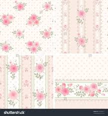 chic wrapping paper seamless floral background and borders set of shab chic